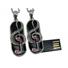 Флешка Скрипичный ключ брелок с белыми и розовыми стразами