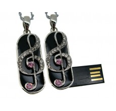 Флешка Скрипичный ключ брелок с розовыми стразами