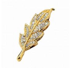 Флешка Лист дубовый в стразах цвет золото