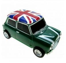 Флешка Автомобиль Мини Купер пластик зеленый с флагом
