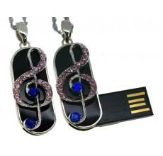 Флешка Скрипичный ключ брелок с розовыми и синими стразами