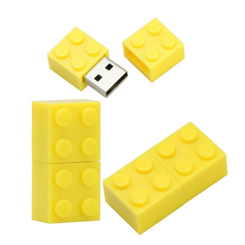 Флешка Конструктор желтый пластик