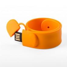 Флешка Браслет SLAP силиконовый оранжевый
