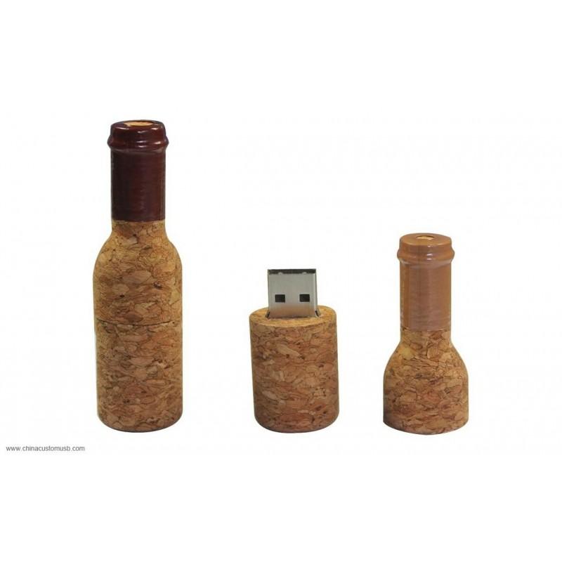 Флешка Бутылка дерево (пробка)