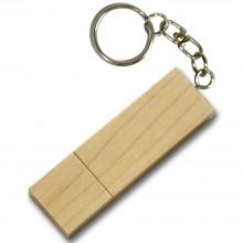 Флешка дерево прямоугольная на кольце с цепочкой