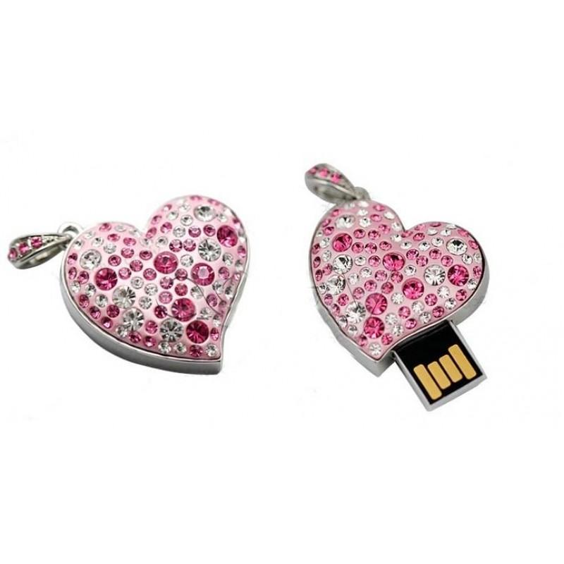 Флешка Сердце 10306 розовое в стразах