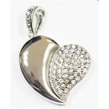 Флешка Сердце 10254 серебро со стразами