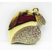 Флешка Сердце 10253 золото со стразами