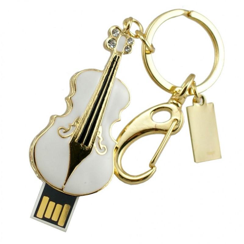 Флешка музыкальная. Скрипка белая с карабином