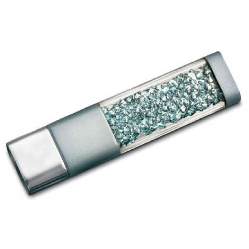 Флешка Crystalline с кристаллами голубая