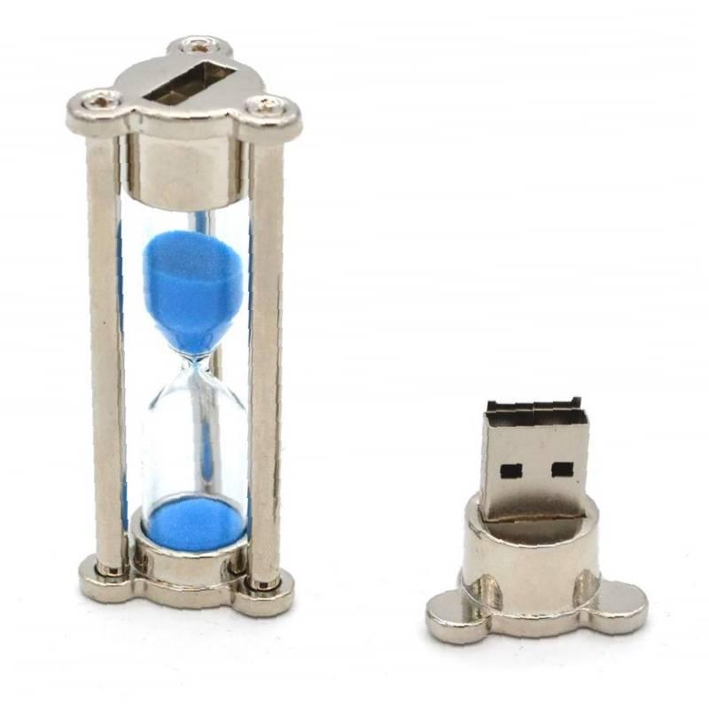 Флешка Песочные часы серебро с синим песком