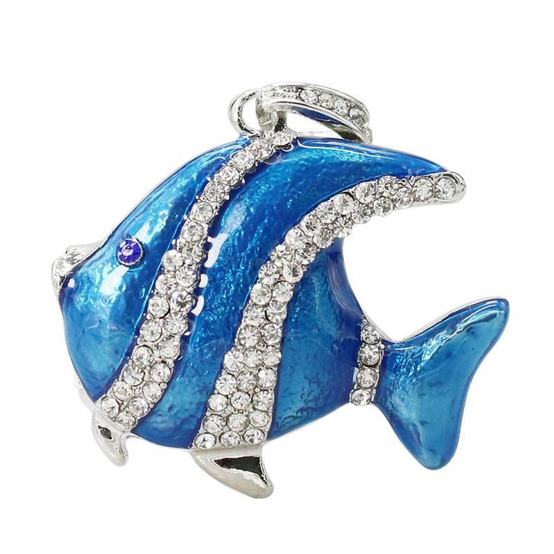 Флешка Рыбка синяя со стразами