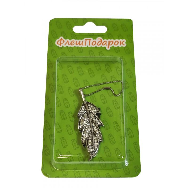 Флешка Лист дубовый в стразах цвет серебро