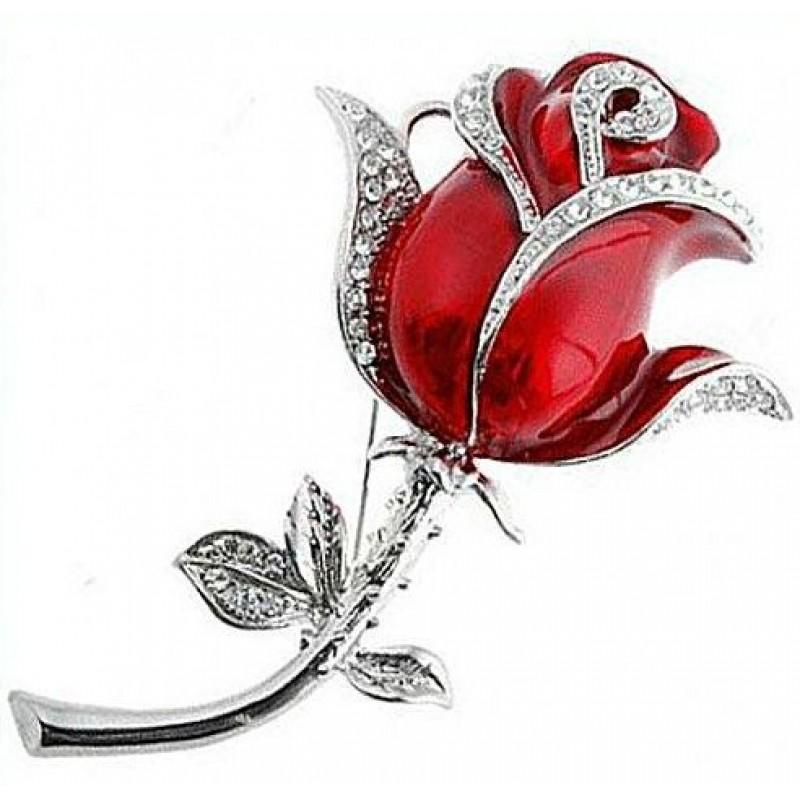 Флешка Роза брошь красная со стразами на стебле