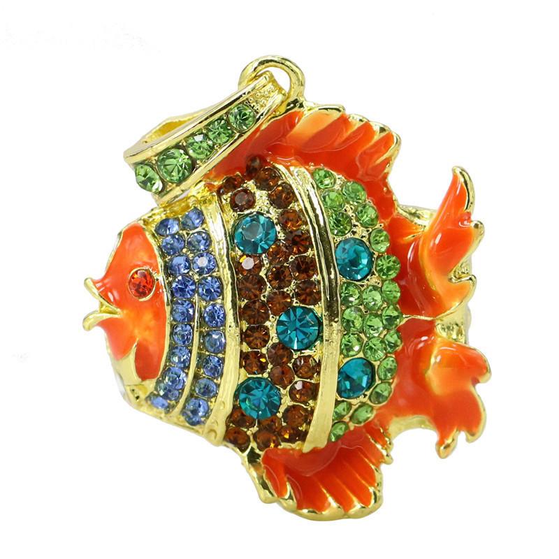 Флешка Рыбка оранжевая со стразами