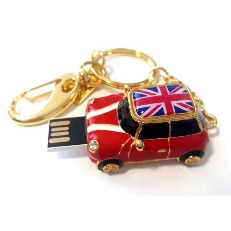 Флешка Автомобиль Мини Купер красный с флагом