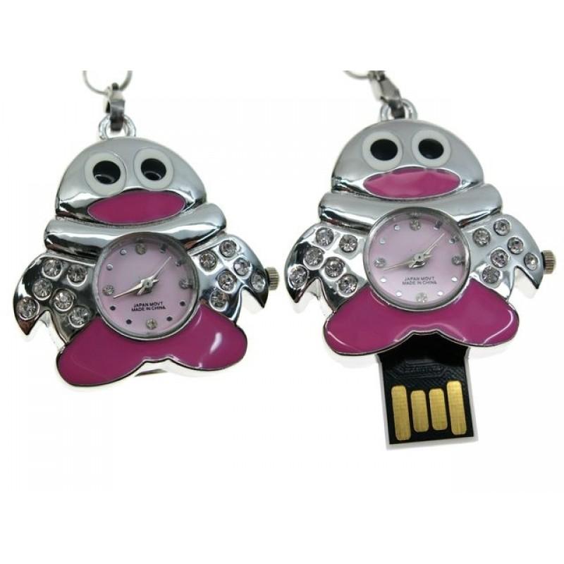Флешка Часы Пингвин розовый
