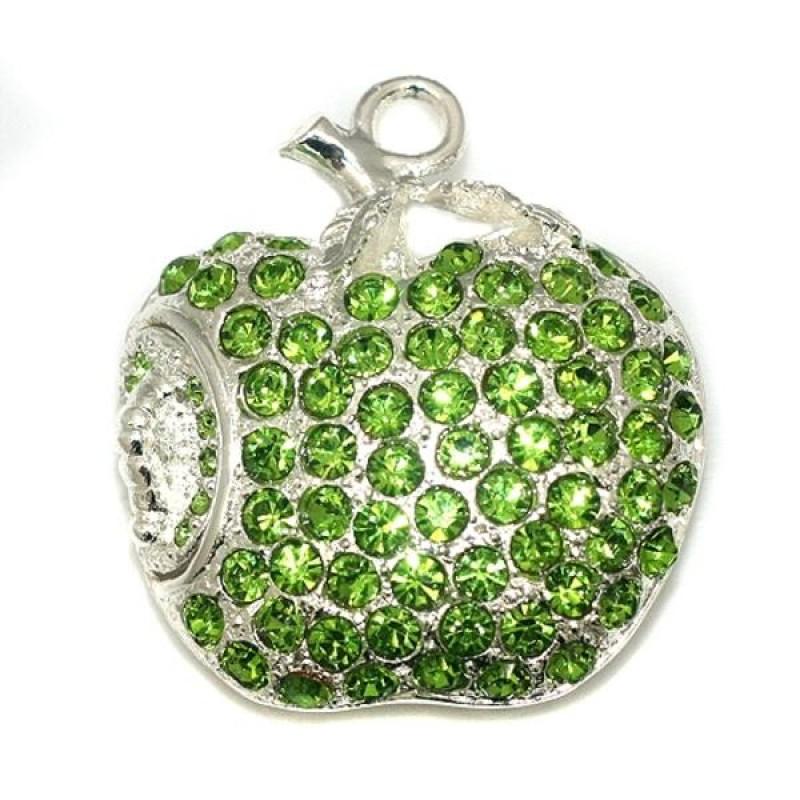 Флешка Яблоко в зеленых стразах