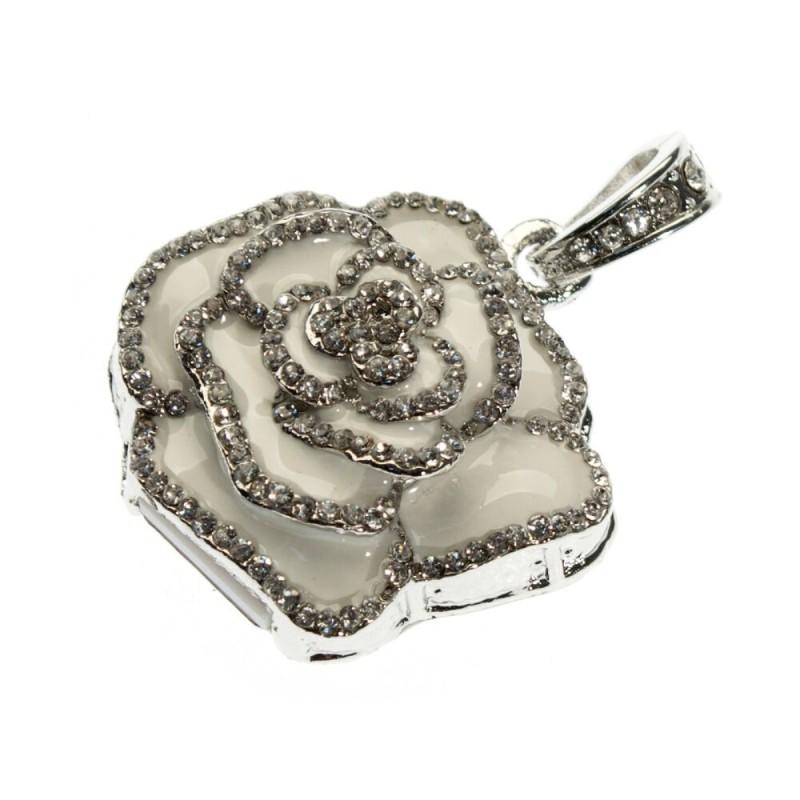 Флешка Роза подвеска белая