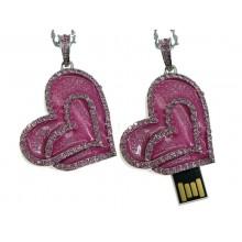 Флешка Сердце 11385 подвеска розовое со стразами