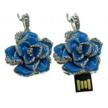 Флешка Роза подвеска синяя