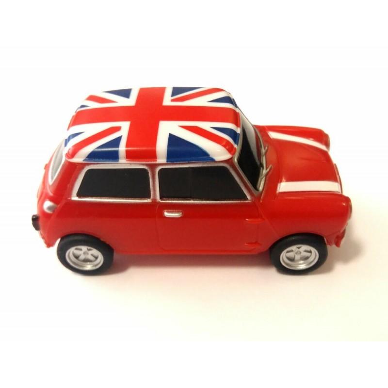 Флешка Автомобиль Мини Купер пластик красный с флагом