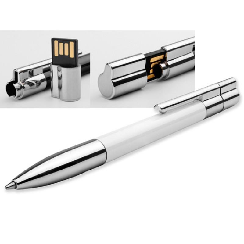 Флешка Ручка металл/пластик белая