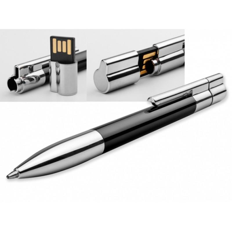 Флешка Ручка металл/пластик черная