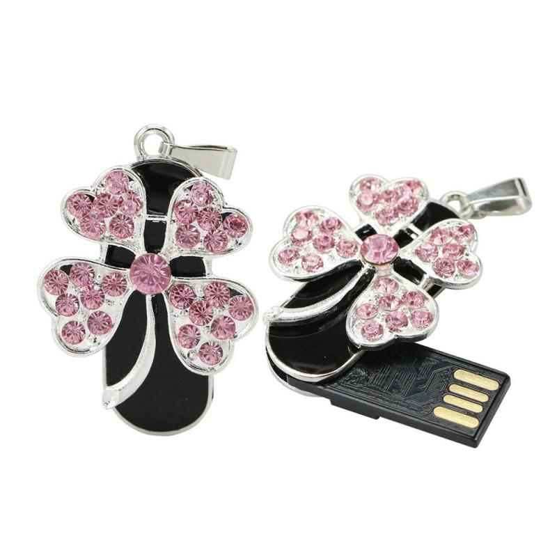 Флешка Подвеска с цветком в розовых стразах