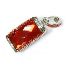 Флешка Кристалл в стразах красный/серебро