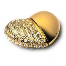 Флешка Сердце 10283 золото со стразами