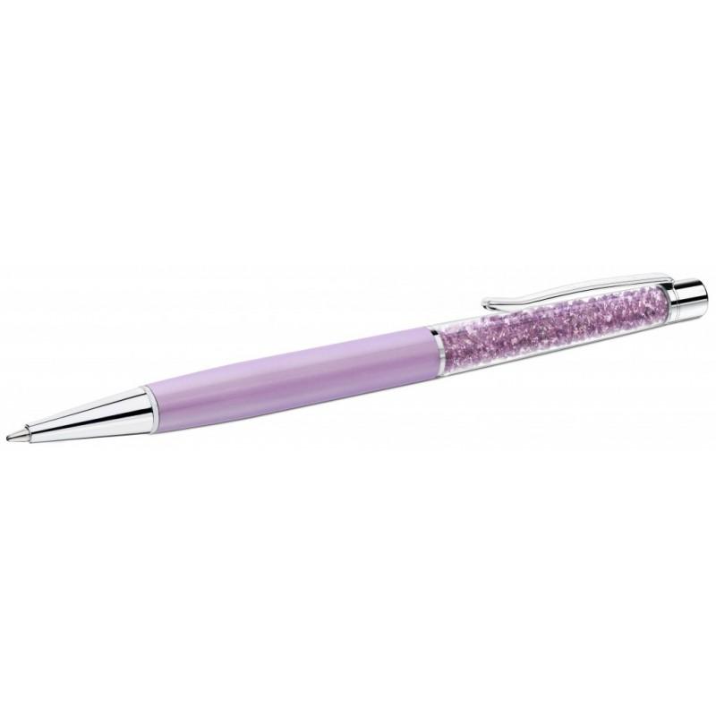 Флешка Ручка шариковая с кристаллами сиреневая