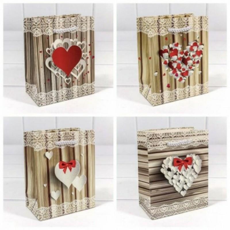 Пакет подарочный Сердце с блеском (микс) 12*15*6,7
