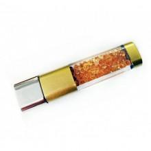 Флешка Crystalline с кристаллами золотая