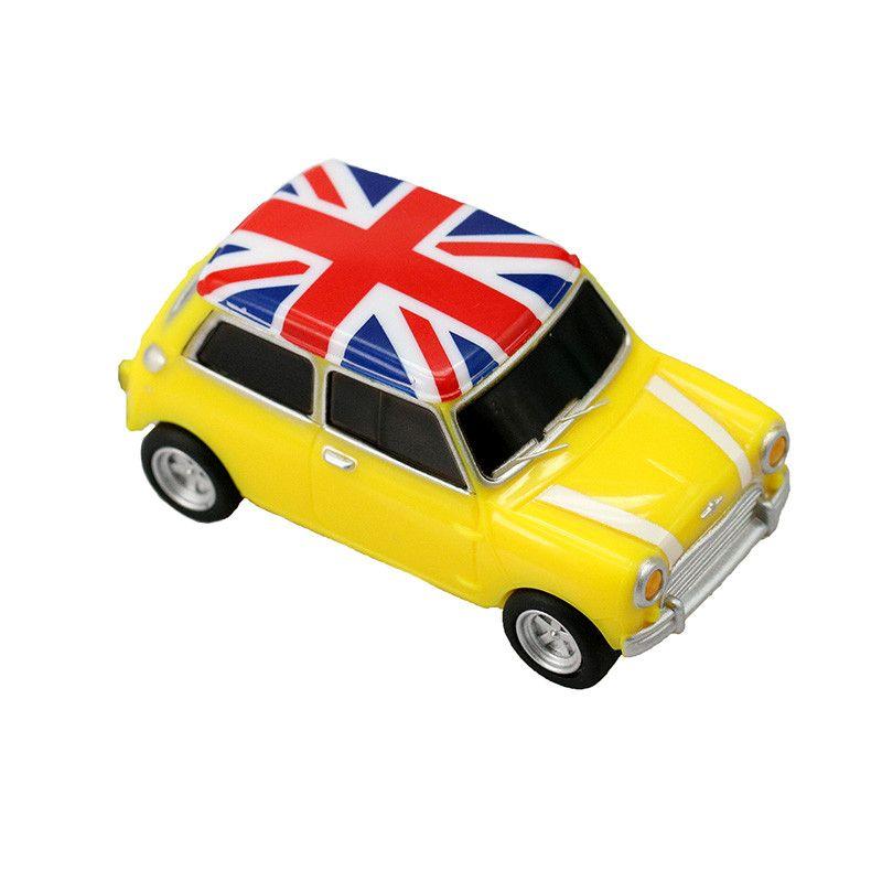 Флешка Автомобиль Мини Купер пластик желтый с флагом