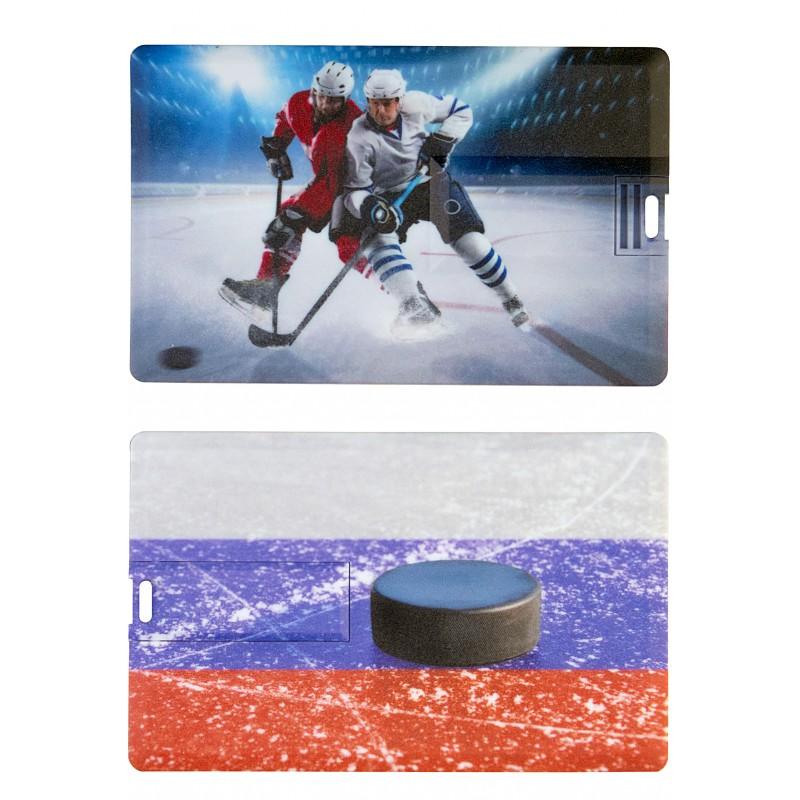 Флешка Хоккей пластиковая карта